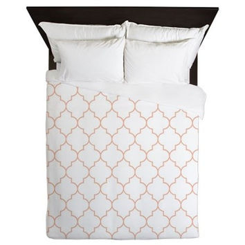 Duvet Cover - Peach Duvet Cover - Quatrefoil Duvet Cover - Peach Quatrefoil - Peach Duvet - Girls Bedding - Teen Duvet Cover - Peach