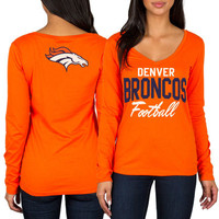 Women's Denver Broncos Orange Direct Snap V-Neck Long Sleeve T-Shirt