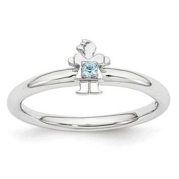 Rhodium Plated Sterling Silver Stackable Blue Topaz 7mm Girl Ring