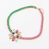 Fashion Gold Woven Chain Colorful Necklace with Floral Rhinestones