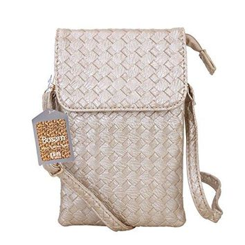 Bosam Woven Leather Cell Phone Crossbody Bag Small Purse iPhone 7 Plus 55inch Cell Phones