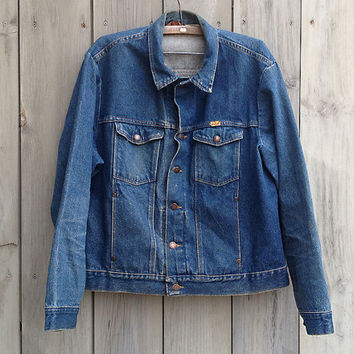 Vintage jean jacket | 1980s 90s men's Rustler XL denim jacket