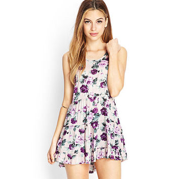 2016 Spring Summer Sweet Floral Backless Women One-piece Dress