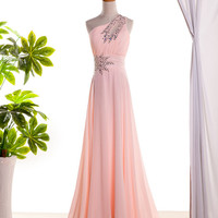 Pink one shoulder prom dress long prom dress chiffon dress pink prom dresses cheap evening dress formal dress school dress homecoming dress