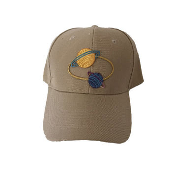 SPACE PLANETS HAT khaki patch hat