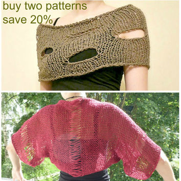 Two Knitting Shrug Bolero PATTERNS  / PDF format Pattern /  Knit pattern / Buy 2 patterns save 20 %