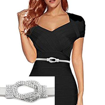Rhinestone Knot Buckle Piece Stretch Waist Chain Belt Gold, Black Tone (Silver)