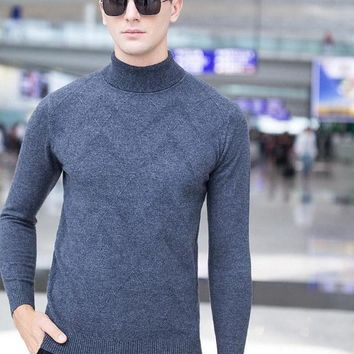 New Fashion Turtleneck Wool Men Casual Pullover Boutique Men Clothing Knitting Jacquard Sweater Wool Pull