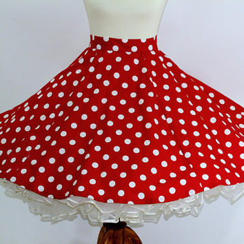 Square Dance Skirt Full Circle Red & White Polka Dot with Long Belt Ties | Minnie Mouse Skirt | Sz M | Ladies Sq Dance Skirt Rockabilly