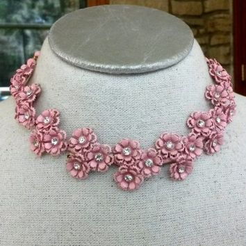 Vintage 1950s Pink Enamel Floral Flower Choker Necklace Clear Rhinestone