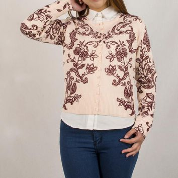 Spring Fashion Printing Single Breasted Short Women Sweater