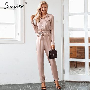 Simplee Elegant sashes buttons satin long sleeve women jumpsuit Autumn pockets elastic waist romper Office ladies playsuit 2018
