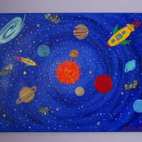 Space Painting, Space Decor, Boys Space Room Decor on Canvas, 18x24