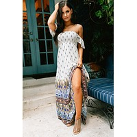 Take My Picture Flutter Sleeve Maxi Dress (Off White/Multi)