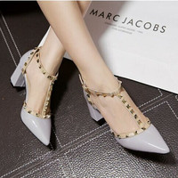 Women Fashion Multicolor Hollow Rivet T Buckle Band Shallow Mouth Pointed Top Heels Shoes