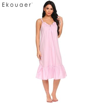 Ekouaer Women Sexy Nightgowns Sleepwear Cotton V-Neck Spaghetti Strap Nightdress Ruffles Solid Sleeping Dress Female Nightwear