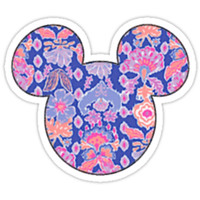 Lilly Pulitzer Inspired Mickey Mouse Head - Blue Floral by charmingsouth