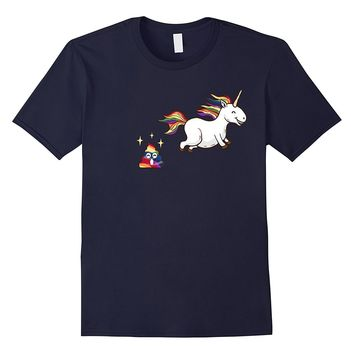 Funny Emoji Unicorn Poop T-Shirt - Cute Rainbow Poop