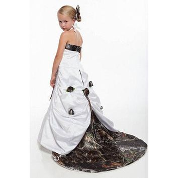 free shipping 2017  mossy oak camo detachable train flower girl dress girls  pageant gown long camouflage kid prom dresses