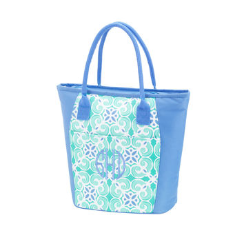Sea Tile Monogram Cooler Tote