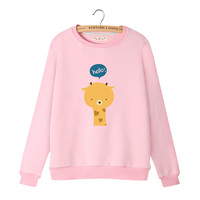 Women's Round Collar Cartoon Giraffe and Hearts Print Long Sleeves Sweat Shirt
