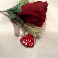 Resin Valentine Pendant.  Red Heart Pendant.  Valentine Heart Pendant in Red.