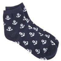 Anchor Print Ankle Socks by Charlotte Russe - Navy