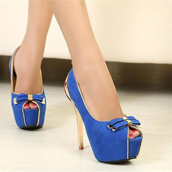 Women Fashion Blue & Black Thin High Heel