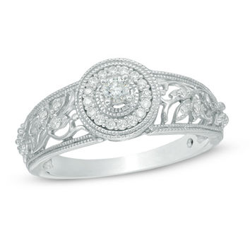 Cherished Promise Collection™ 1/8 CT. T.W. Diamond Vine Frame Promise Ring in 10K White Gold