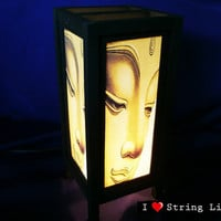 Buddha Face Mulberry Paper Lantern Oriental Style for home decorate (Converter plug included)