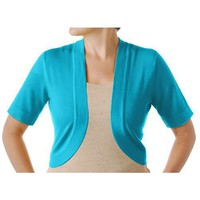 Plus Bay Studio Plus Short Sleeve Solid Bolero Shrug
