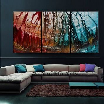 "Painting, 72"" Red Orange Extra Large Wall Art Decor, Acrylic Landscape Abstract Painting on Canvas, Modern Art - Size 72x36in /120x90cm"
