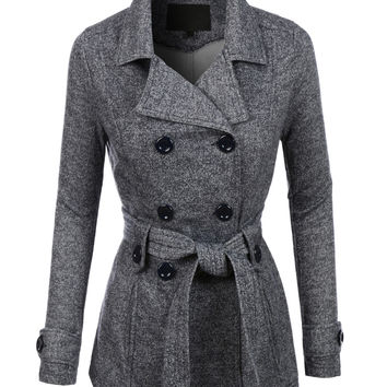 LE3NO Womens Double Breasted Fleece Pea Coat Jacket with Pockets (CLEARANCE)