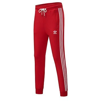 Adidas Trending Women Stylish Print Drawstring Sport Stretch Pants Trousers Sweatpants Red
