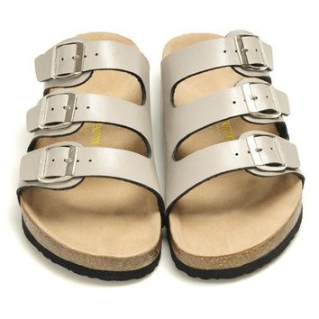 Birkenstock Leather Cork Flats Shoes Women Men Casual Sandals Shoes Soft Footbed Slippers-28