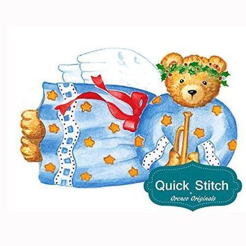 Quick Stitch Country Christmas Teddy Bear Angel Counted Cross Stitch or Counted Needlepoint Pattern