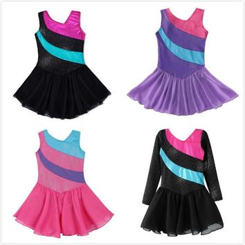 Littele Girls Ballet Tutu Dress/Skirt Sleeveless Rainbow Stripe Tulle Skirt Shiny Sparkle Dance Wear Gymnastic Leotards Clothes