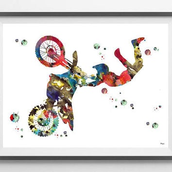 Motocross Rider watercolor print sport art motocross poster dirt biker giclee print motocross rider jump motorcycle art wall art home decor