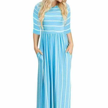Blue White Striped Casual Pocket Style Maxi Dress