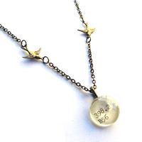 Twin Sparrows Brass Reclaimed Library Card Pendant Necklace Librarian Jewelry