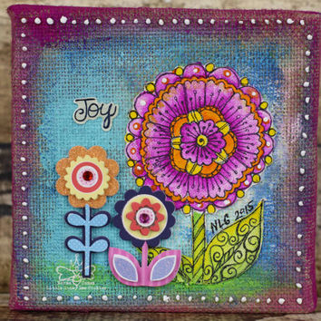 Joy - Whimsical Flower Art - Original Mixed Media Art - 6x6  Burlap Canvas - Whimsical Art - Girl's Room Art - Little Girl Gifts