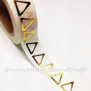 Washi Tape / Japan Sticky Adhesive Tape / Decorative Masking Tape Scrapbooking Tools Favor Stationery Triangle Gold Foil 10m g03