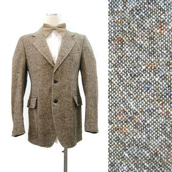 Vintage 80s Jacket Men's Donegal Tweed Blazer Sport coat  S M 40