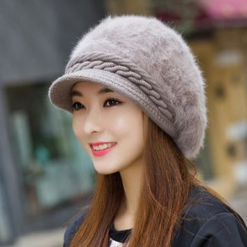 VBIGER Women Winter Hat Thickened Peaked Hat Warm Beret Brim Cap Knitted Hat