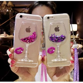 3D Liquid Quicksand Bling Wine Glass Phone Cases For iphone 5/iphone 6 /iphone 6 plus /iphone 7 /iphone x