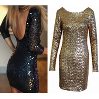 Sequined lace halter dress
