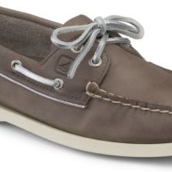 Sperry Top-Sider Authentic Original Metallic Piping 2-Eye Boat Shoe Greige/Silver, Size 6M  Women's Shoes