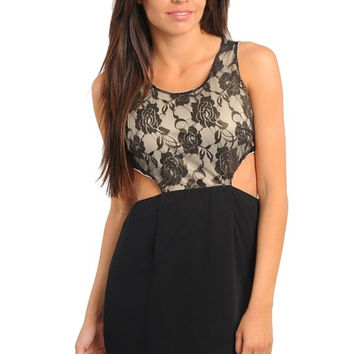 Lace Bodice Side Cutout Dress