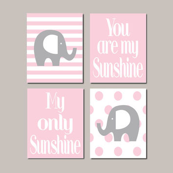 Elephant Nursery WALL ART Decor Pink Grey Baby Girl Elephant You Are My Sunshine Pink Gray Nursery Wall Picture Set of 4 Prints Or Canvas