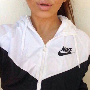 Nike Trending Women Men Loose Print Zipper Hoodie Cardigan Sweatshirt Jacket Coat Windbreaker Sportswear I
